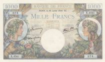 Francia 1000 Francs Commerce and Industry - 20-07-1944 Serial X.4541