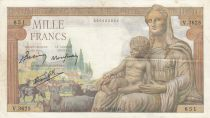 Francia 1000 Francs Goddess Demeter - 28-01-19432 - Serial V.3625
