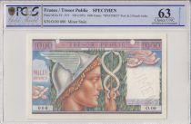 Francia 1000 Francs Mercury, French Treasory - 1955 - Specimen - PCGS 63
