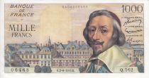Francia 1000 Francs Richelieu - 02-06-1955 Serial Q.162