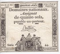 Francia 15 Sols Liberty and Justice (23-05-1793) - Sign. Buttin - Serial 44