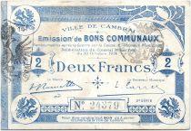 Francia 2 Francs Cambrai City - 1914