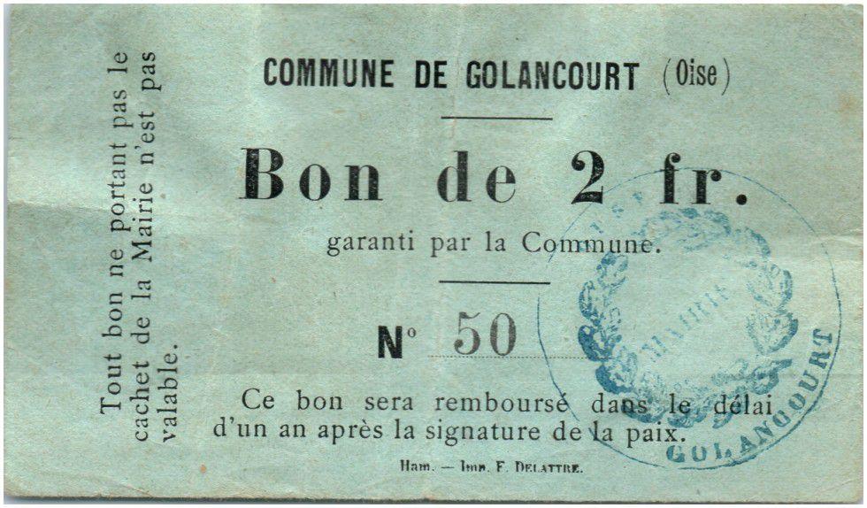 Francia 2 Francs Golancourt City