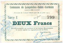 Francia 2 Francs Lesquielles-Saint-Germain City - 1915
