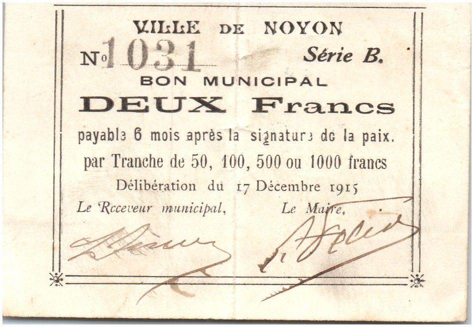 Francia 2 Francs Noyon City - 1915