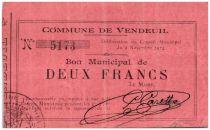 Francia 2 Francs Vendeuil City - 1914