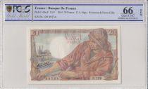 Francia 20 Francs Fisherman - 17-05-1944 Serial N.129 - PCGS 66 OPQ