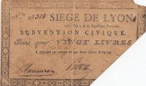 Francia 20 Livres Siege of Lyon - August 1793 - n° 28318