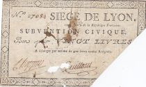 Francia 20 Livres Siege of Lyon - August 1793