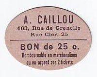Francia 25 cent. Paris Epicerie Vins A CAILLOU
