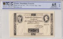Francia 25 Livres Louis XVI (24-10-1792) - Sign. Jame - PCGS 65 OPQ