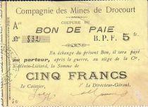 Francia 5 F Drocourt Cie. des mines Bon de paie