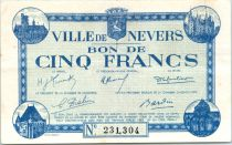 Francia 5 Francs , Nevers Bon de Ville, émis - 1940