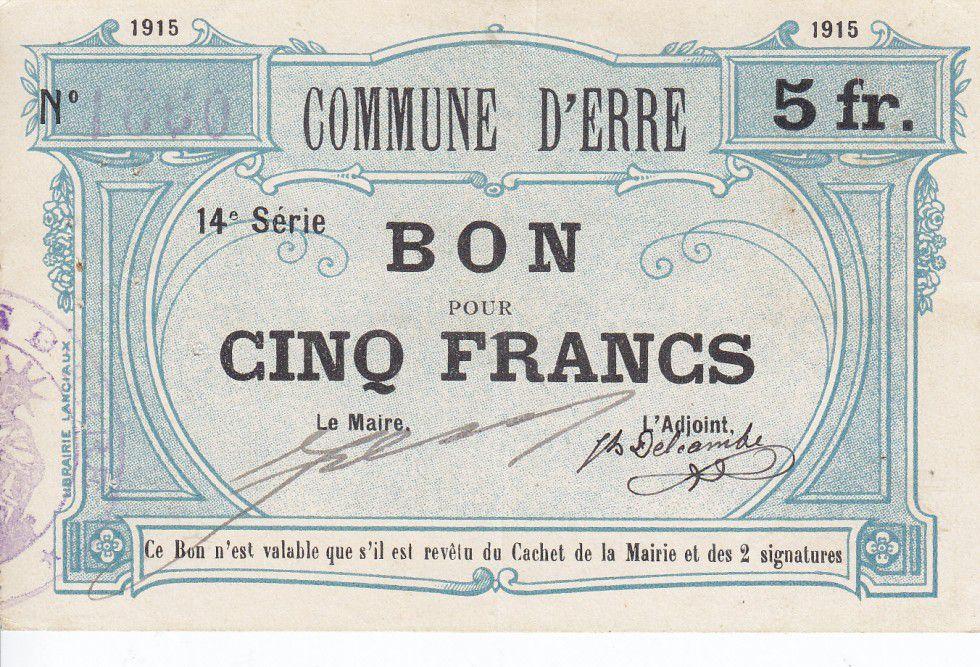 Francia 5 Francs Erre City - 1915