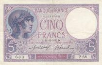 Francia 5 Francs Helmeted woman - 11-12-1917 Serial Z.68
