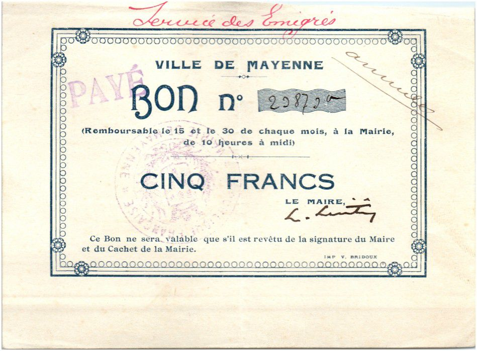 Francia 5 Francs Mayenne City