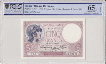 Francia 5 Francs Violet - 12-12-1940 -PCGS 65 OPQ