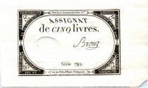 Francia 5 Livres 10 Brumaire An II (1793-10-31) - Sign. Brouz