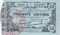 Francia 50 cent. Fourmies - Serial 34 - 08/05/1916