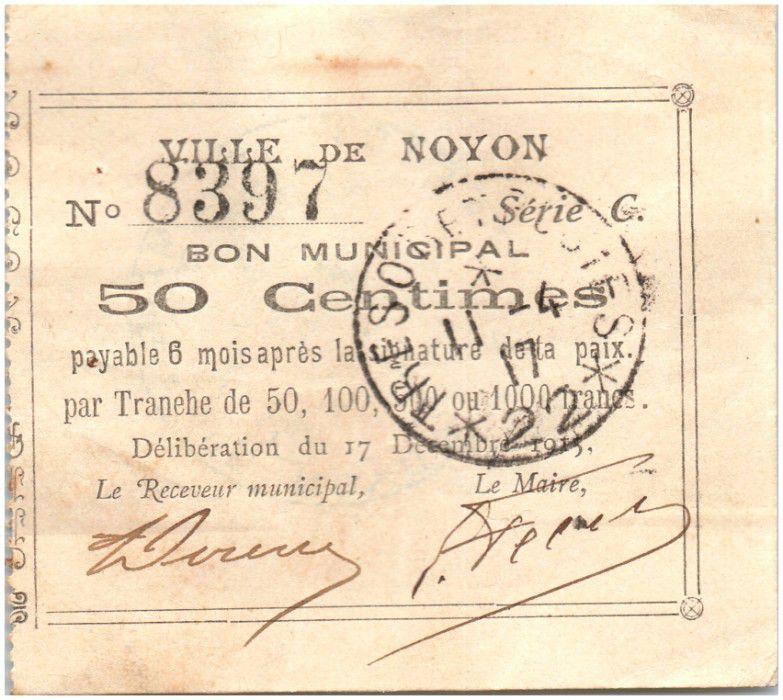 Francia 50 Centimes Noyon City - 1915