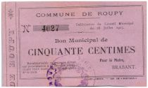 Francia 50 Centimes Roupy City - 1915