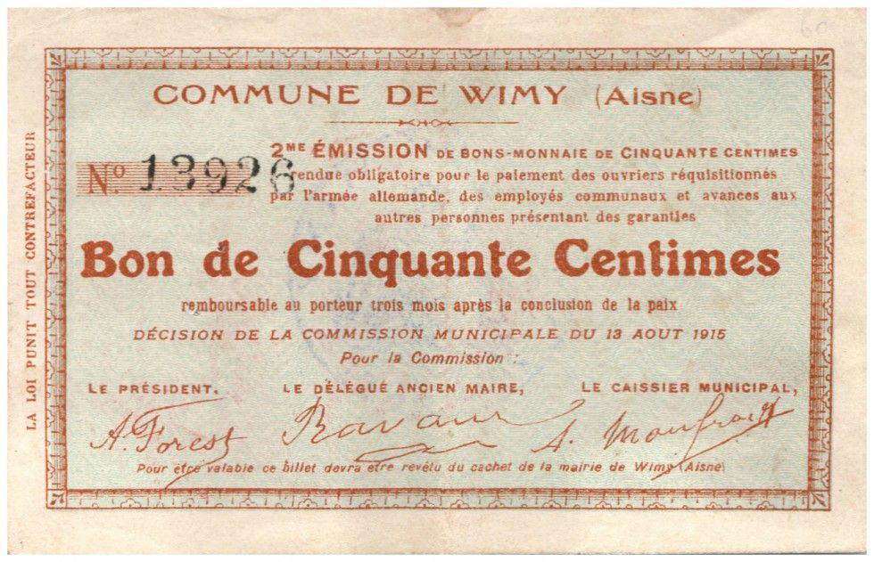 Francia 50 Centimes Wimy City - 1915