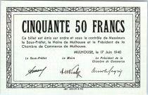 Francia 50 Francs , Mulhouse Chambre de Commerce, Série B