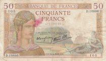 Francia 50 Francs Ceres - 14-09-1939 - Serial D.10886