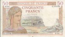 Francia 50 Francs Cérès - 4/4/1940  - Serial  G. 13109