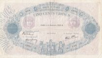 Francia 500 Francs Blue and pink - 09-11-1939 Serial J.3751