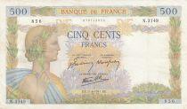 Francia 500 Francs Pax with wreath - 11-06-1941 Serial N.3149