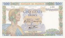 Francia 500 Francs Pax with wreath - 25-07-1940 Serial A.832