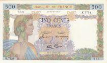 Francia 500 Francs Peace - 07-01-1943 - Serial K.7734