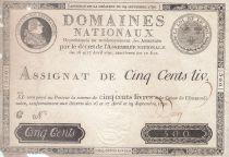 Francia 500 Libras Louis XVI - 29 Sept. 1790 - Serie C Firma Desrez