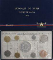 Francia FDC.1974 Monnaie de Paris Uncirculated set 1974 FDC.1974 1c double edge