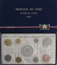 Francia FDC.1974 Monnaie de Paris Uncirculated set 1974 FDC.1974 1c double edge