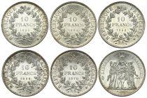 Francia Lot of 5 x 10 Francs Hercules -Silver 1965 to 1972