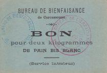 Francia Sans valeur Carcassonne Bon pour 2 Kg de pain bis blanc