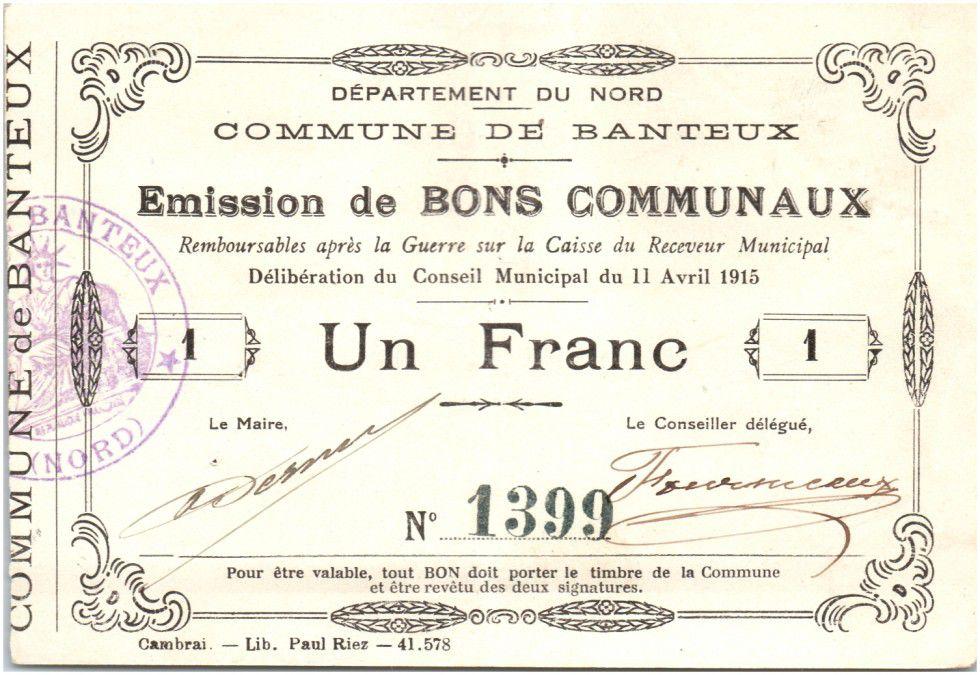 Frankreich 1 Franc Banteux City - 1915