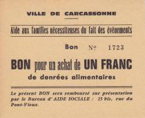 Frankreich 1 Franc Carcassonne Bon pour un achat de 1 franc de denrées alimentaires