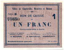 Frankreich 1 Franc Charleville-Mézières Cities - Charleville, Mézières et Mohon - 1915