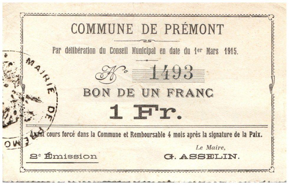 Frankreich 1 Franc Premont City - 1915