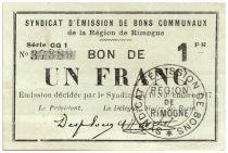 Frankreich 1 Franc Rimogne City - 1917