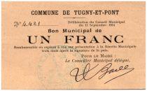 Frankreich 1 Franc Tugny-Et-Pont City - 1914