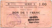 Frankreich 1 Franc Villeselve City - 1915