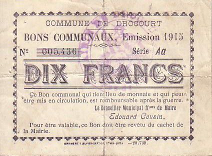 Frankreich 10 F Drocourt