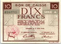 Frankreich 10 Francs , Colmar Chambre de Commerce, série A - 1940