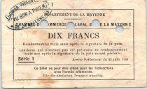 Frankreich 10 Francs , Laval et Mayenne Chambre de Commerce, série 1 Annulé par perf. - 1940