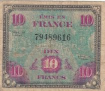 Frankreich 10 Francs Allied Military Currency - Flag - 1944