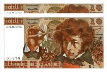 Frankreich 10 Francs Berlioz - 23-11-1972 2 consecutives numbers